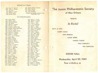 1949-04-20 Junior Philharmonic Society of New Orleans concert program