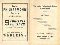 1949-10-24 Junior Philharmonic Society of New Orleans concert program