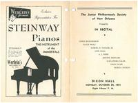 1951-10-29 Junior Philharmonic Society of New Orleans concert program