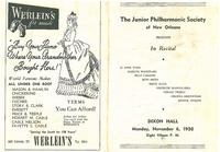 1950-11-06 Junior Philharmonic Society of New Orleans concert program
