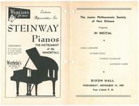 1951-11-14 Junior Philharmonic Society of New Orleans concert program