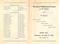 1949-11-16 Junior Philharmonic Society of New Orleans concert program