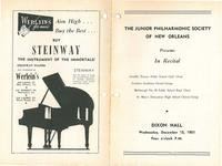1951-12-12 Junior Philharmonic Society of New Orleans concert program