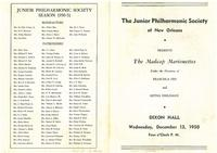 1950-12-13 Junior Philharmonic Society of New Orleans concert program