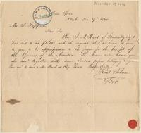Letter from  Hunt  & Johnson to Lewis Tappan