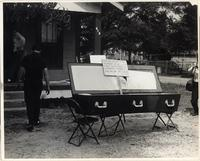 Coffin left by Klan