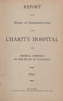 Charity Hospital Report 1899