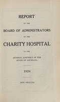 Charity Hospital Report 1924