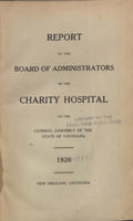 Charity Hospital Report 1926