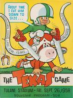 Tulane University Official Souvenir Football Program-The Greenie; The Texas Game