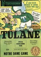 Touchdown! - The Tulane Football Magazine and Official Game Program; Notre Dame Game