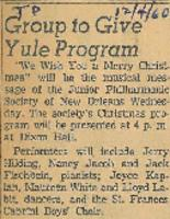 1960-12-04 Group to Give Yule Program