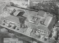 Aerial view of campus building