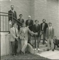 Group photo of biomedical engineering faculty on stairs