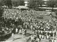 Students on the quad during the sesquicentennial celebration