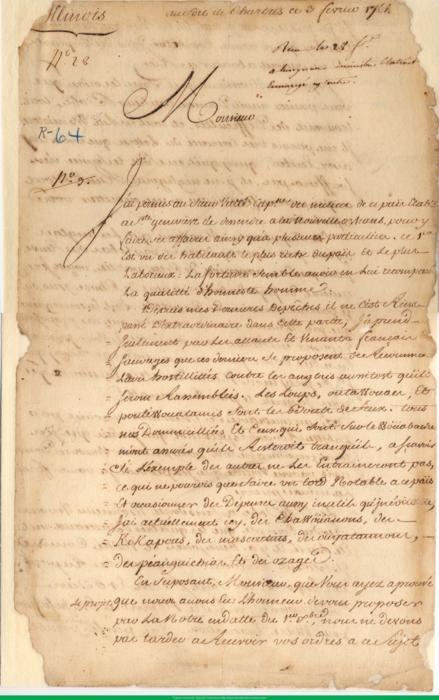 Letter, Pierre-Joseph Neyon Devilliers, Fort Chartres, Ill., to Jean-Jacques-Blaise D'Abbadie 1764