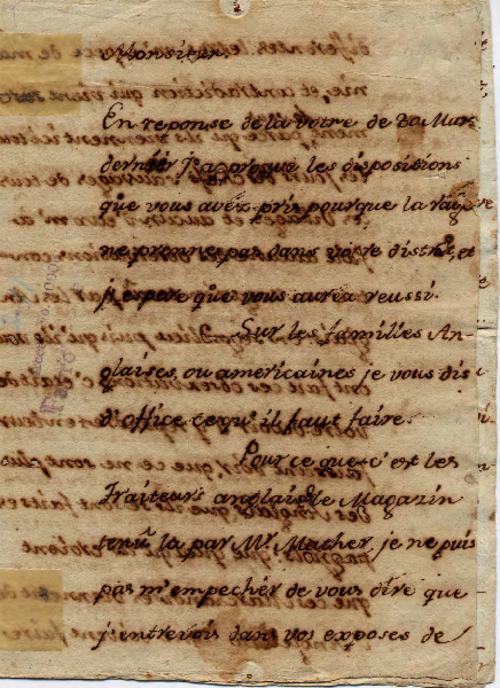 Letter, Estevan Miro, New Orleans, La., to Pierre-Joseph Favrot, Mobile, Ala.1786