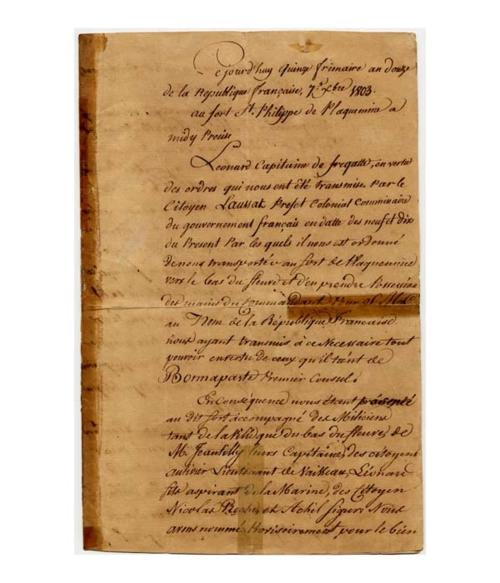 Proces-verbal of the delivery of the forts of Plaquemines to Gilberto Leonard, Frigate Captain and Agent of the French Republic 1803