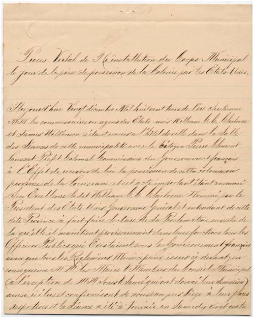 Proces-verbal of the re-installation of the municipal council of New Orleans under the authority of the government of the United States1803