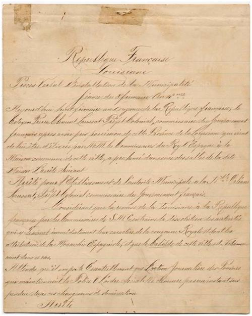 Proces-verbal of the establishment of French municipal government for New Orleans P.-C. de Laussat. 1803