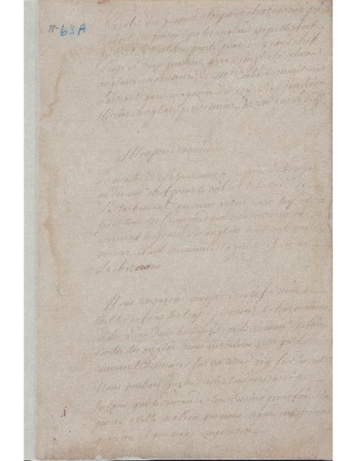 Official report made by Pierre-Joseph Neyon de Villier, on the visit of Indian messengers to Fort Chartres  1763
