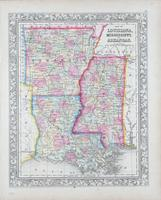 Map of Louisiana, Mississippi and Arkansas. S. Augustus Mitchell, 1860.