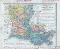 Topographical map of the state of Louisiana. (Wm. H. Harris, Commissioner.) New Orleans, 1881. Railroad lines drawn in with red ink.