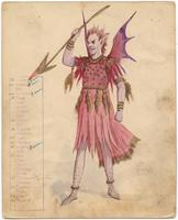 Krewe of Rex 1910 costume (no number) Pink/purple demon with spear.