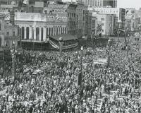 Aerial View of Mardi Gras on Canal Street with sign