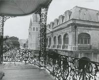 Chartres Street from the Lower Pontalba Building gallery to Victor's Café, corner Toulouse Street.