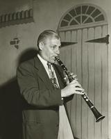Bill Bourgeois playing clarinet with Leon Prima's band