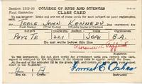College of Arts and Sciences Class Card